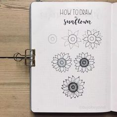 Flower Drawing sunflower bullet journal layout - Its been a popular theme during summer! So we have forund 43 sunny stunning sunflower bullet journal layout ideas and spreads to show you and Bullet Journal Easy, Bullet Journal Themes, Bullet Journal Layout, Bullet Journal Inspiration, Sunflower Sketches, Sunflower Drawing, Simple Flower Drawing, Floral Drawing, Doodle Drawings