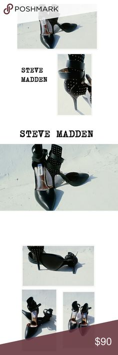NWT! *HOT* MADDEN BLACK LEATHER STUDDED PUMPS SZ 6 PRICE IS FIRM! REMARKABLE BUY.. INCREDIBLE STEVE MADDEN BLACK LEATHER STUDDED PUMPS.  SHOW STOP HEELS BELTED ANKLE & SUPER STUDDED HEEL  4IN HEEL BRAND NEW! BUY NOW OR BUNDLE AND SAVE Steve Madden Shoes