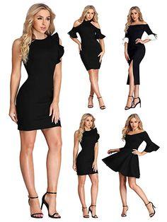 85eb8b30779 Woman Short Sexy Cocktail Party Dress Date Night Little Black Dress Bodycon  12 UK Black  fashion