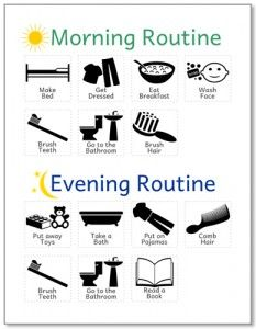 morning and evening routine 233x300 12 Amazing Daily Routine Charts for Kids