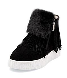 Aisun Womens Warm Casual Fringed Side Zipper Round Toe Platform Flat Ankle Snow Sneaker Booties Black 7 BM US ** Check this awesome product by going to the link at the image.(This is an Amazon affiliate link and I receive a commission for the sales)