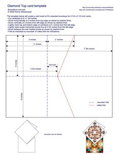 "Diamond-Topped Card Template - to fit a standard A2 card envelope (4.25""x5.5"")"