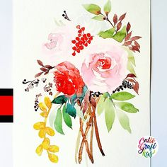 Another take on a loose floral bouquet #calligrafikas #grafikas #dreweuropeo #illustration #watercolor #grafikaflora #botanicalwatercolor  Paper: Canson Montval 300gsm Paint: Kuretake Gansai Tambi Brush: Silver Brush Black Velvet round no 6
