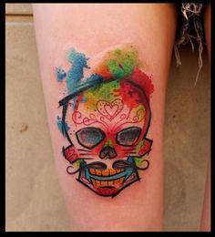 Tatuagem de Caveira Mexicana | aquarela