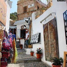 Lindos, Rhodos, Greece Artist: @m_tsili Pefkos Rhodes, Greece Rhodes, Santorini Greece, Mykonos, Greek Isles, Holiday Places, Greece Islands, Beach Shack, Greeks