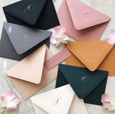 Our mixed color envelopes we sent out invitations in looking beautiful with a rose gold foil pressed monogram ✨ Green Wedding, Wedding Colors, Wedding Stationary, Wedding Invitations, Invites, Wedding Cards, Wedding Events, Mustard Yellow Wedding, Envelope Design