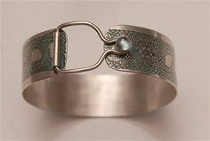 Sterling silver green lace print cuff bracelet with by AKAannie, $165.00