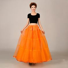 Orange Bridal Vintage Wedding Underskirt Crinoline Girls Petticoat Skirt Slip  #Petticoat