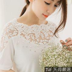 【天母嚴選】三件折100-寬鬆版-縷空蕾絲珠飾上衣(共二色)-momo購物網