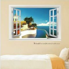 Wall Decal 3D Window Tropical View Vinyl