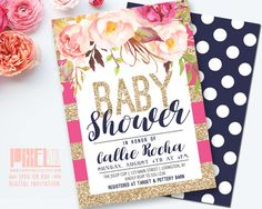 Floral Baby Shower Invitation, Watercolor Peony with Gold Glitter Stripes, Pink and Navy Blue Baby Sprinkle Invite - PRINTABLE DESIGN by shopPIXELSTIX on Etsy