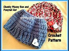 Posh Pooch Designs Dog Clothes: My Chunky Messy Bun and Ponytail Hat Crochet Pattern | Posh Pooch Designs