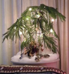 Norfolk Island pine, Safari wolves, polysnow, white lights, icicles