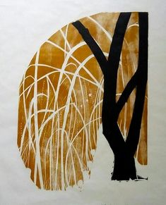 Woodcut on Rice Paper Landscape Mode, Naoko, Weeping Willow, Happy Art, Contemporary Landscape, Rice Paper, Artsy Fartsy, Printmaking, Moose Art