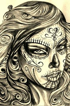 ♥ Day Of The Dead Girl, Day Of The Dead Skull, Skull Girl Tattoo, Sugar Skull Tattoos, Neue Tattoos, Body Art Tattoos, Thigh Tattoos, Sleeve Tattoos, Tatoos