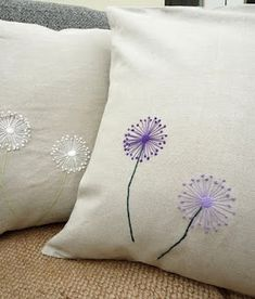 embroidered dandelions, with brown cloth and navy flowers