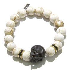 Black Diamond, Conch Shell Bead & Jet Skull Men's Bracelet