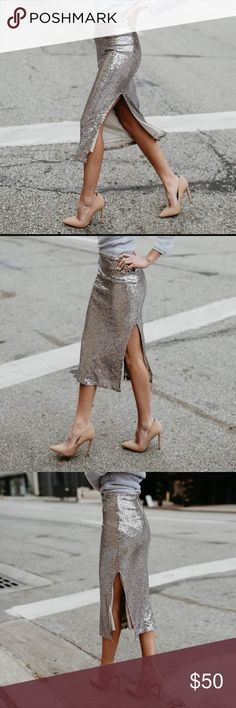 COMING SOON - Sequin obsession pencil skirt Sequins are going to be hot this season.   I love this silver sequin pencil skirt. Dress up or down. Bundle with a crop top or off shoulder sweater from my closet for a grey deal.   This item has sent pre-ordered.  Like now for notifications. Do not miss this one. Skirts Midi
