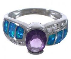 Southwestern Amethyst And Blue Opal Silver Ring Size 9 EX53270