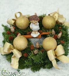 adventi koszorú (32cm) Advent, Christmas Wreaths, Holiday Decor, Crafting, Christmas Swags, Christmas Garlands, Advent Wreaths