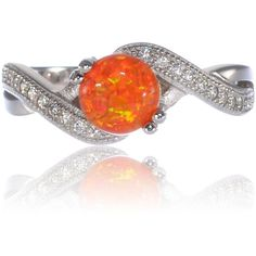 Round Infinity Mexican Fire Orange Opal Engagement Ring Sterling... ($30) ❤ liked on Polyvore featuring jewelry, rings, round ring, engagement rings, opal rings, round engagement rings and orange jewelry