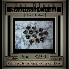 #GENUINE #SWAROVSKICRYSTAL #JET #BLACK #STONES    Qualifies for $2.75 MAX USA Shipping w/ free add-ons of 175+ items in shop.    Set in #natural #patina 6mm round #brass #settings with 1 #ring    3.2mm (24pp) Jet Swarovski Crystal centers. You receive 6 pieces    #Retro #Vintage #Stock ( From the late #80s )    Overall each piece measures 1/4 inch in diameter (not including the loop)    Settings Are 100% Pure Brass, Naturally Nickel, Lead Free | Shop this product here…