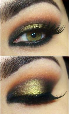 Gorgeous eye makeup. Brown/green eyes