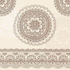 Henna Mehndi Tattoo Flower Mandala and Paisley Hand. Stock Photo