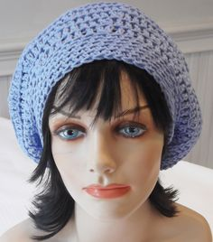 Blue Cotton Slouchy Tam Beret Beanie Hat by Hookedonyarnct on Etsy, $18.00