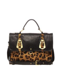 asos leather leopard buckle satchel