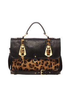 asos leather leopard buckle satchel