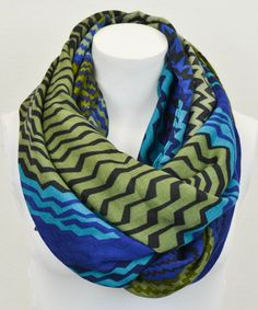 Another great find on #zulily! Turquoise & Spring Green Zigzag Infinity Scarf by Leto Collection #zulilyfinds