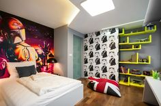 http://www.ireado.com/macho-and-stylish-boys-room-paint-ideas/ Macho and Stylish, Boys Room Paint Ideas : Boys Room Paint Ideas Star Wars Themed Boys Bedroom With Hand Painted Murals