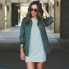 striped dress + green jacket.