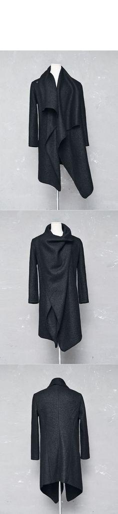 Outerwear :: Coats :: Avant-garde Unbalance Turtle Drape-Coat 140 - GUYLOOK Men's Trendy Fashion Clothing Online