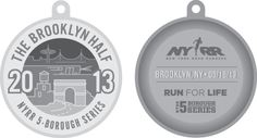 front and back of the Brooklyn Half 2013 medal design