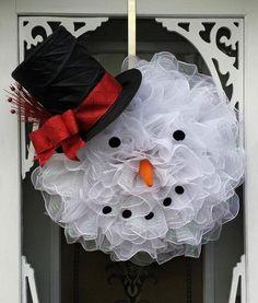 snowman wreath ideas deco mesh snowman wreath easy diy christmas wreaths for front door