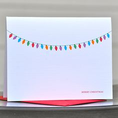 Christmas Cards / Holiday Card Set / Personalized Christmas Cards - Chunky Christmas Lights. $18.00, via Etsy.