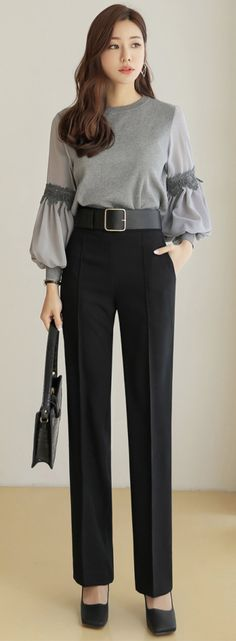 High-Waisted Slim Straight Leg Slacks - Lilly is Love Fashion 2020, Fashion Models, Women's Fashion, African Fashion, Korean Fashion, Fashion Pants, Fashion Dresses, Remake Clothes, Sleeves Designs For Dresses