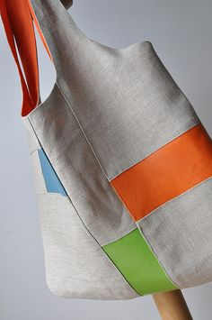 Geome-Three - linen with multicolor leather tote