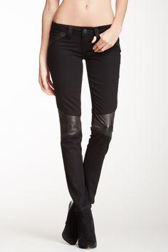 Leather Paneled Moto Pant