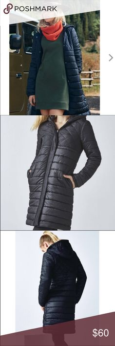 """Fabletics NEW Black Long Puffer Coat Women's XL Brand New Fabletics Lucca Puffer Jacket with Tags Size XL ... Black. Original Price is $100. This is a relaxed fit long lined jacket. It keeps rain out during downpours. There are outer pockets on seams and a pocket inside for phone. The hood will keep the head warm.  Puffer body and sleeves and midi length. Still new with tags. Smoke free home!!   Measurements (flat) Armpit to armpit: 22.5"""" Armpit to bottom: 28"""" Armpit to cuff: 21"""" Shoulder…"""