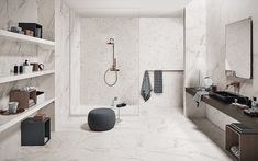 Limpieza sencilla y saludable de los cerámicos y porcelánicos Marble Porcelain Tile, Marble Look Tile, Calacatta Marble, Marble Effect, Bathroom Images, Bathroom Wall, Bathroom Ideas, Bathroom Faucets, Stand Alone Tub