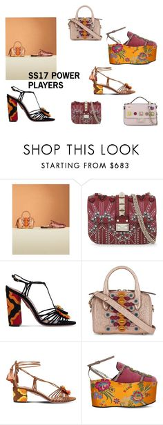"""""""SS17 Power Players"""" by selfridges ❤ liked on Polyvore featuring Valentino, Aquazzura, Anya Hindmarch, Gucci and Fendi"""
