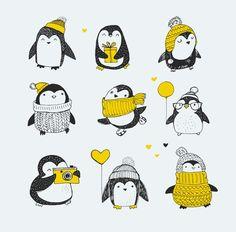 Pinguin Illustration, Illustration Noel, Christmas Illustration, Christmas Doodles, Merry Christmas Greetings, Christmas Art, Merry Christmas Drawing, Penguin Drawing, Cute Penguins