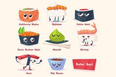 Cute Sushi (set1) by Krol on Creative Market