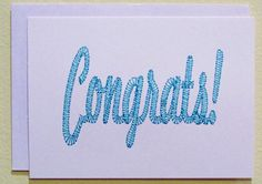 Embroidered Congrats/Congratulations Note Card by DoWahDiddies