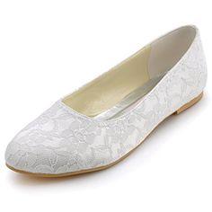 ElegantPark EP11106 Women's Closed Toe Flats Low Heel Lace Wedding Bridal Shoes White US 11