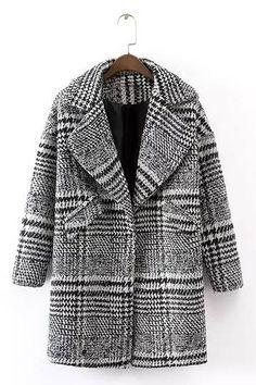 Plaid Lapel Woolen Coat in Gray - US$45.95 -YOINS