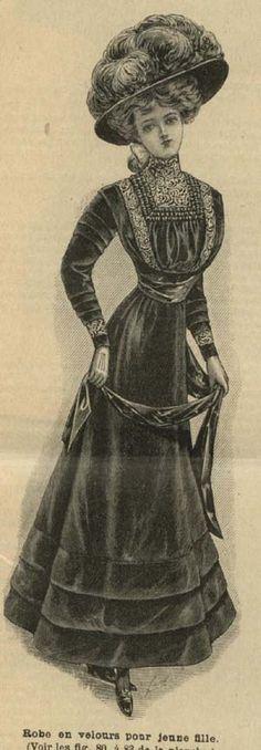 November 1908 Young Ladies Velvet Dress